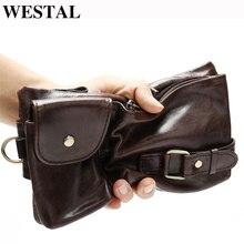 WESTAL men belt bag mens waist bags genuine leather male fanny pack leather phone pouch bag hip money belts chest purse 9080