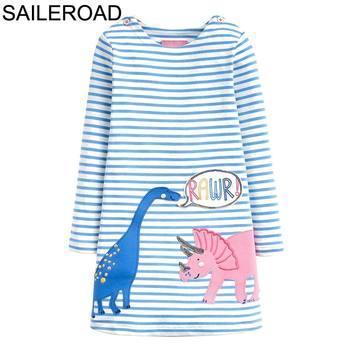 SAILEROAD Dinosaur Dress Girl Clothing Animal Appliques Cotton Girls Dresses for Kids Clothes Long Sleeve Princess Dress Unicorn 1