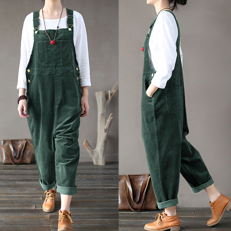 Plus Size Women Corduroy Jumpsuits Autumn Harem Pants Button Overalls Casual Long Pantalon Palazzo Female Rompers Playsuits