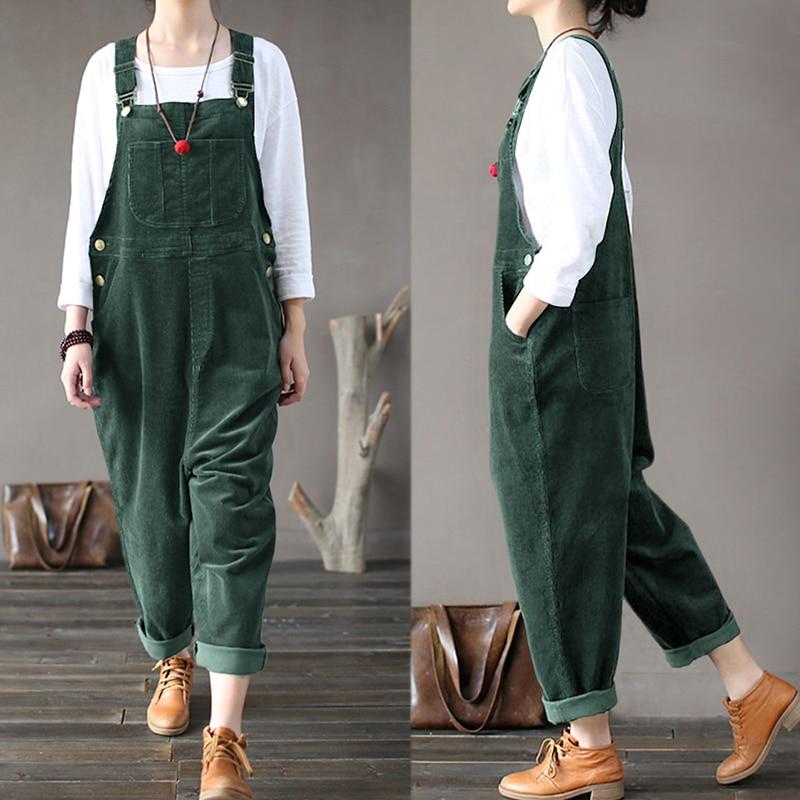 Plus Size Women Corduroy Jumpsuits Autumn Harem Pants Button Overalls Casual Long Pantalon Palazzo Female Rompers Playsuits
