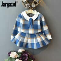 Baby Mädchen Winter Kleidung Set Weihnachten Outfits Kinder Mädchen Plaid Stricken Pullover & rock Herbst Mädchen Kleidung Set Kinder Kostüm