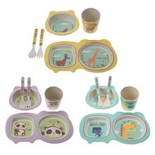 5Pcs/Set Baby Feeding Tableware Set Bamboo Fiber Cartoon Children Dishes Dinnerware Kids Bowl Fork Spoon Cup Plate