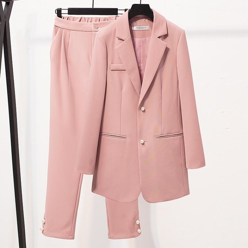 High Quality Temperament Business Women's Suits Pants Suit Autumn New Slim Single-breasted Ladies Jacket Blazer Office Pants Set