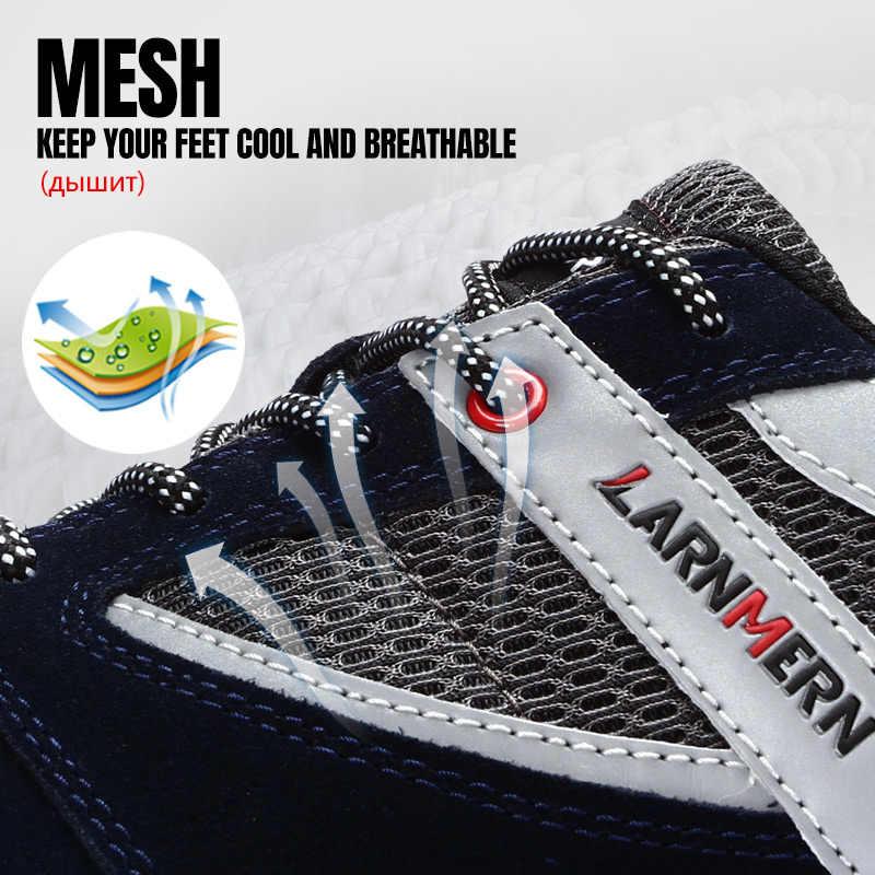 MODYF koruyucu ayakkabı nefes güvenlik ayakkabıları erkek hafif çelik burunlu ayakkabı Piercing çalışma tek örgü ayakkabı