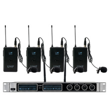 4 Channel Wireless Microphones System UHF Karaoke System Cordless 4 bodypack Mic for Stage Church Use for Party xtuga ew240 4 channel wireless microphones system uhf karaoke system cordless 4 handheld mic for stage church use for party