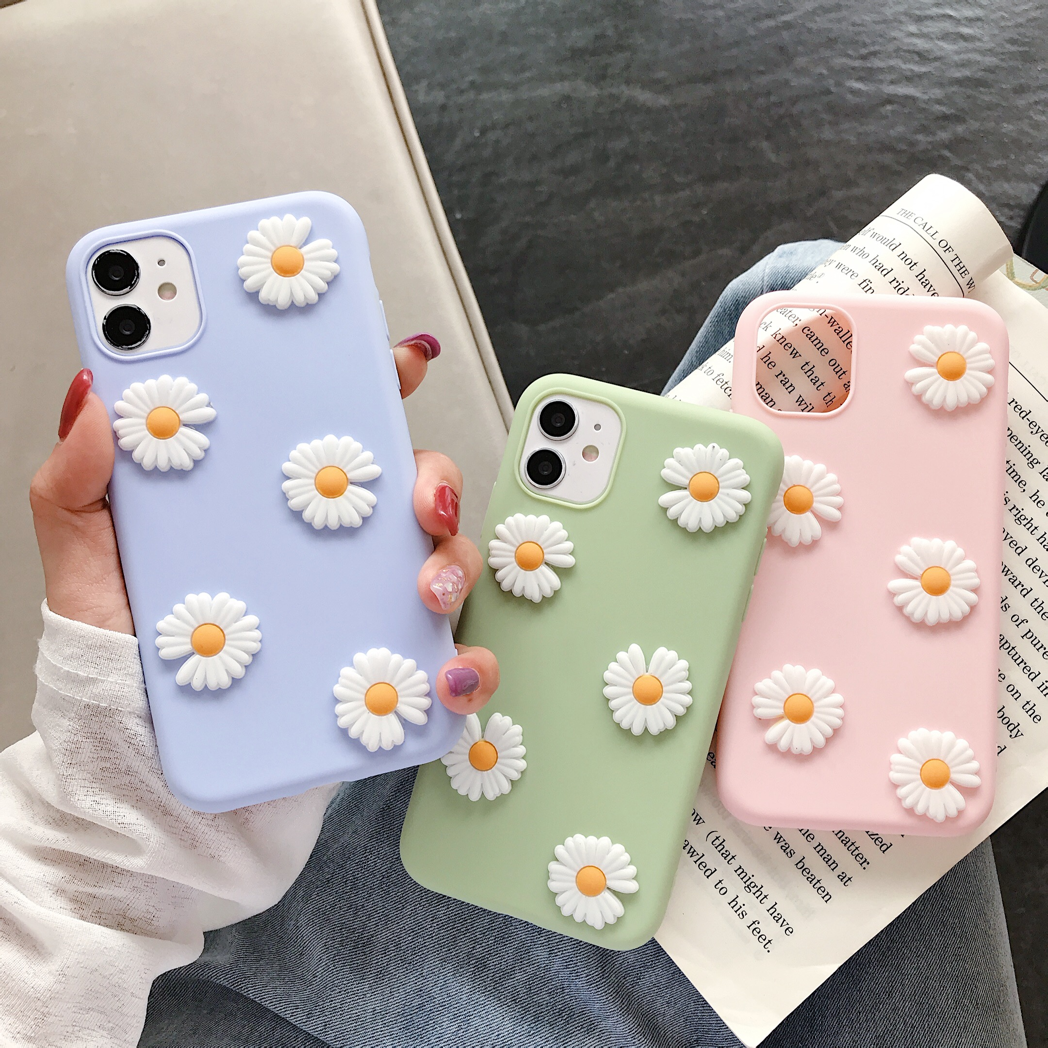 ins Cute 3D Daisy Silicone Soft Phone Case For Samsung Galaxy S10 S20 S6 S7 S8 S9 S10E edge Lite Plus + Note 8 9 5 10 Pro Ultra image