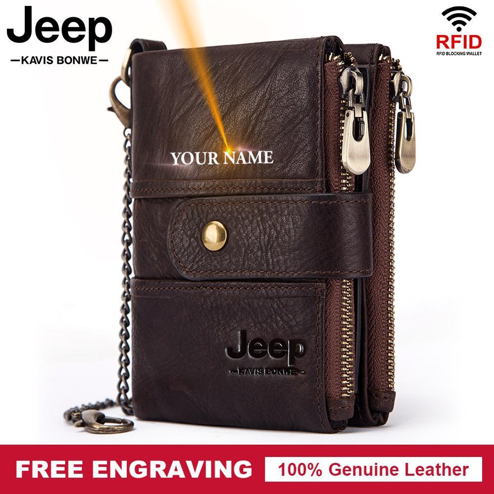 Мужские бумажники из 100% натуральной кожи, винтажные бумажники Rfid для Crazy Horse, кошелек для монет, дизайнерский мужской кошелек с цепочкой Кошельки      АлиЭкспресс