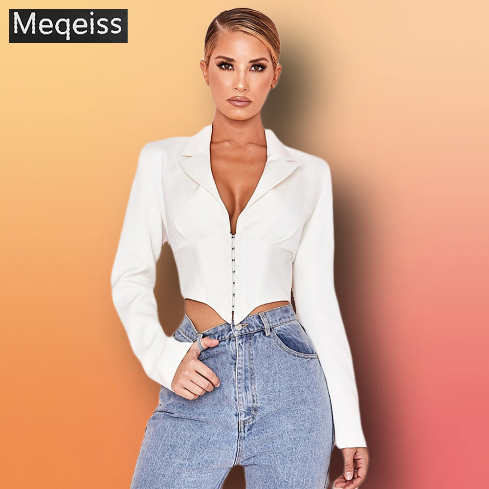 2019 New Ladies Blazer Long Sleeve Blaser Women Suit Bodycon Jacket Female Outwear Deep V Neck White Sexy Club Blazer Coat