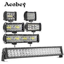Aeobey Led iş lambası şeridi 60w 72w 120w 240w LED sürüş ışık Offroad nokta taşkın işın 4x4 Offroad ATV UTV araba traktör kamyon