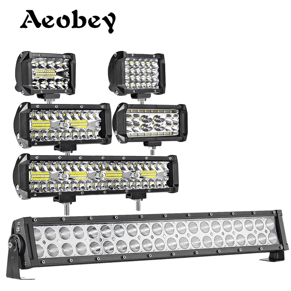 Aeobey LED driving light 60w 72w 120w 240w led work light bar offroad Spot Flood Beam for 4x4 offroad ATV UTV Car Tractor Truck