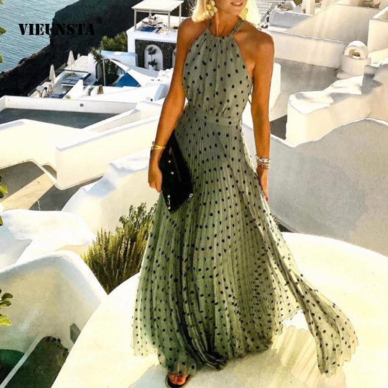 Fashion Sexy Halter Print Pleated Long Dress Women Sweet O Neck Beach Maxi Dress Summer Sleeveless Elegant Boho Party Dress XXL