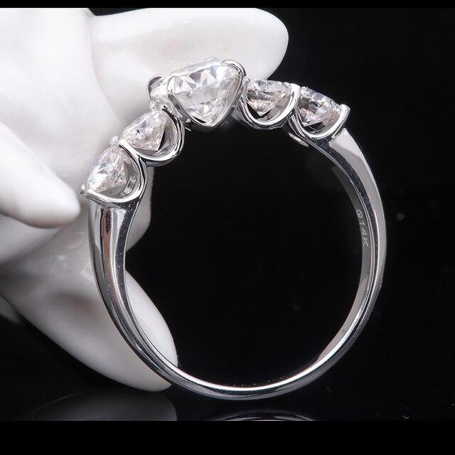 2.2 quilates 6.5mm d cor vvs1 redondo excelente corte moissanite casamento anel de noivado sólido 18 k ouro branco anel fino para senhora 2