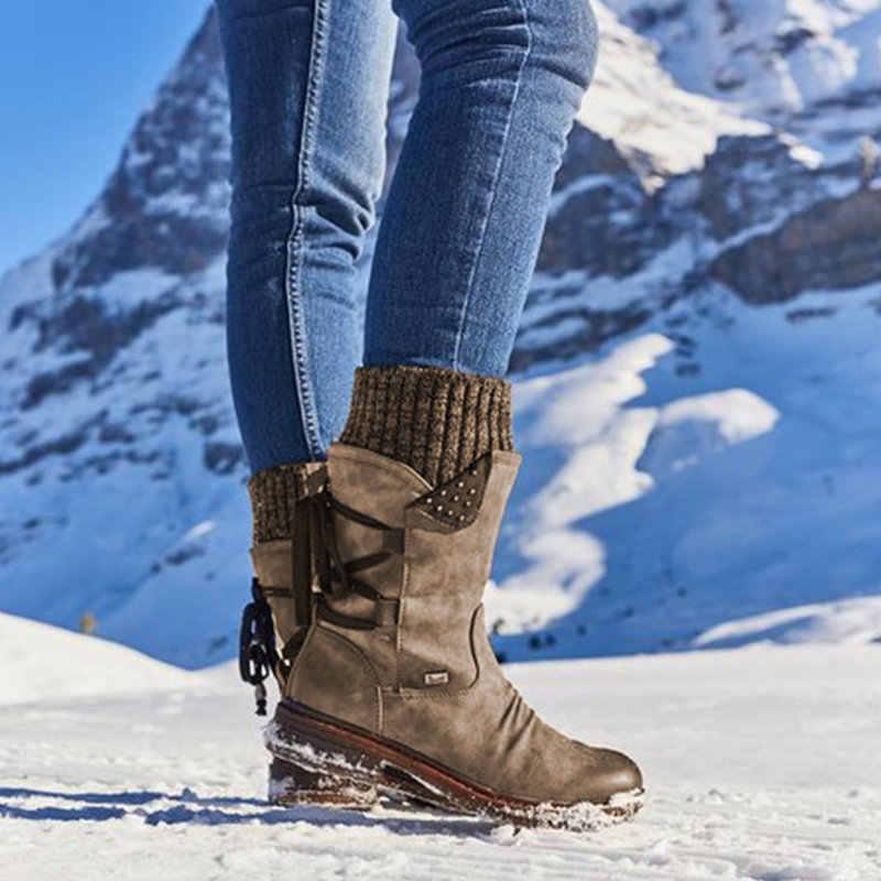 Bayanlar moda sonbahar kış kadın çizmeler orta buzağı ayakkabı sıcak kar botları kovboy tarzı diz yüksek Botas artı boyutu 35 -43