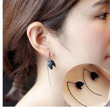 Nova moda bijoux simples artesanal fio de cobre brincos oorbellen preto flor osso brincos longos feminino jóias