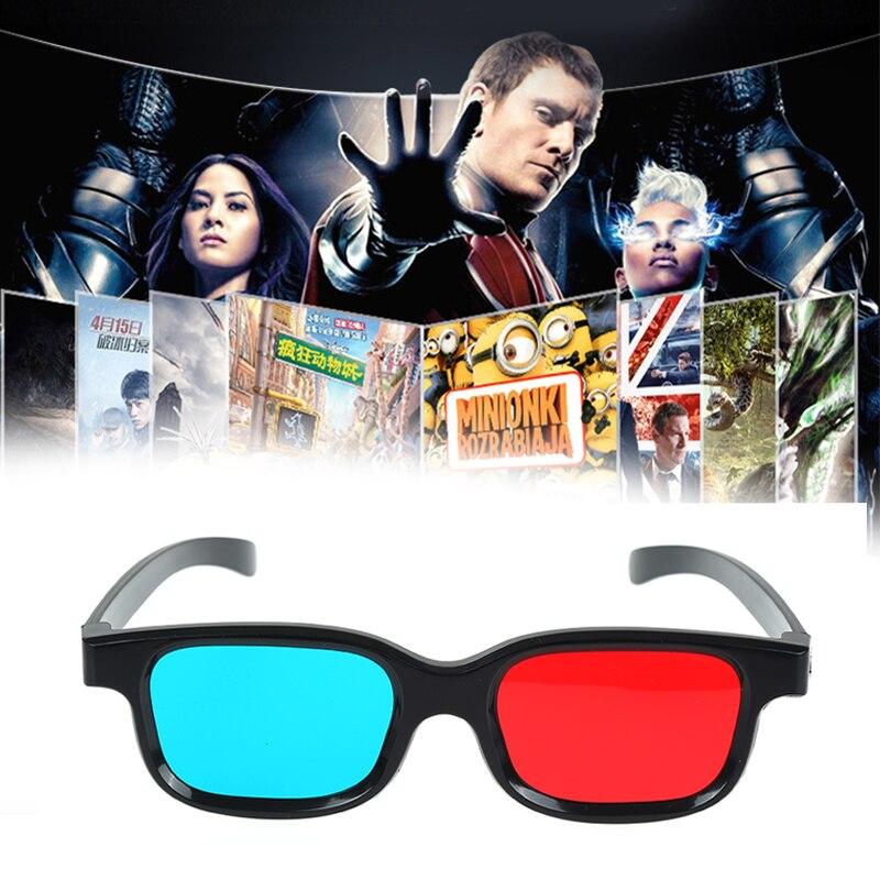 New Red Blue 3D Glasses Black Frame for Dimensional Anaglyph TV Movie DVD Game Video Glasses 3d Glasses for Projector Dlp JSX