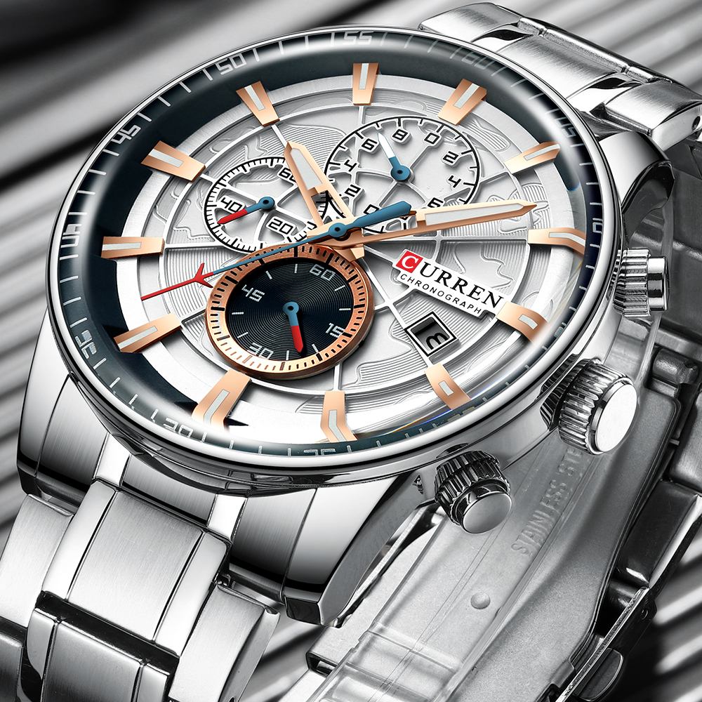New Men Watches CURREN Brand Chronograph Quartz Watch Men Stainless Steel Waterproof Sports Clock Watches Business Reloj Hombre