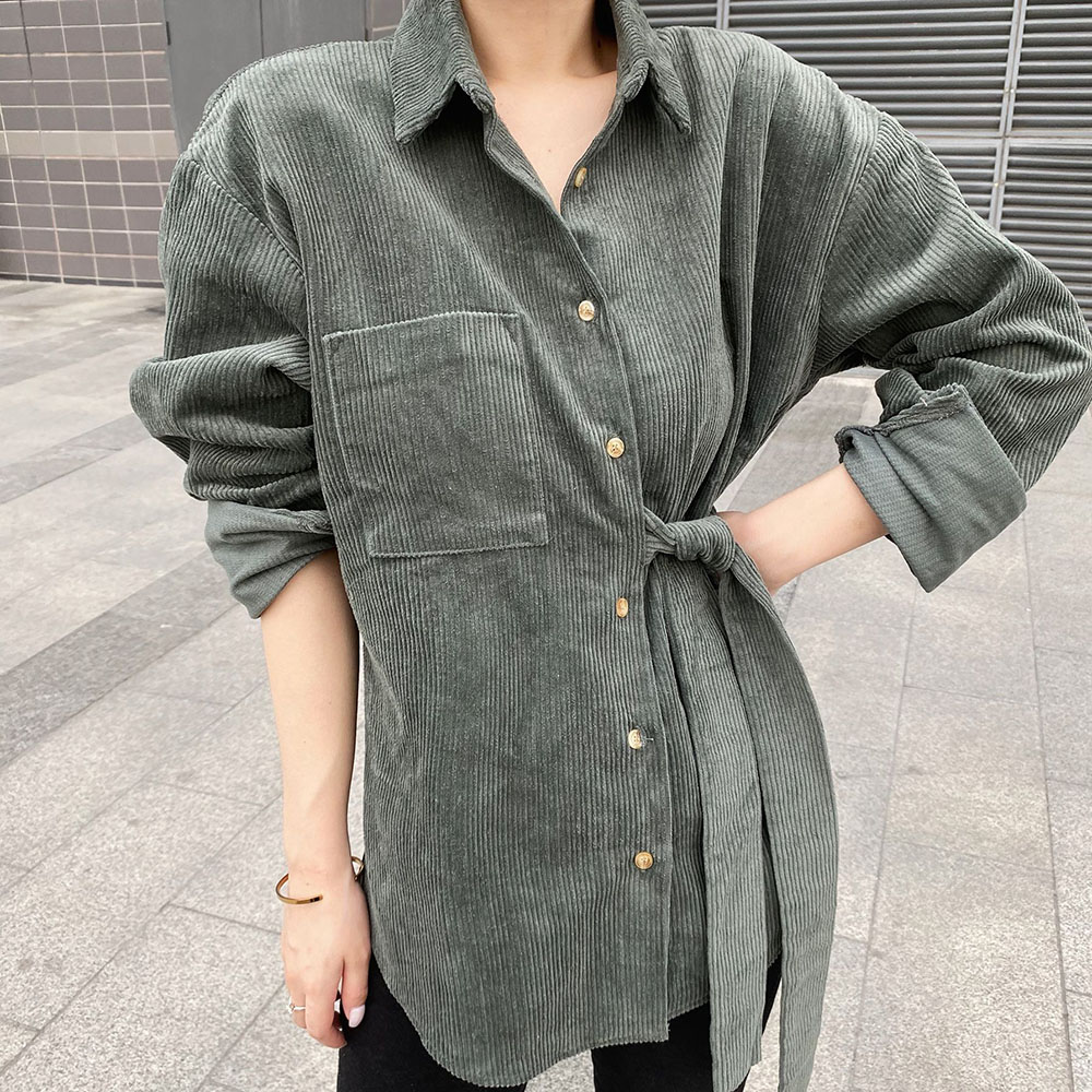 2020 Vintage Long Sleeve Shirts Spring Women Solid Korean Loose Office Blouse Warm Corduroy Blouses Japanese Elegant Women Top