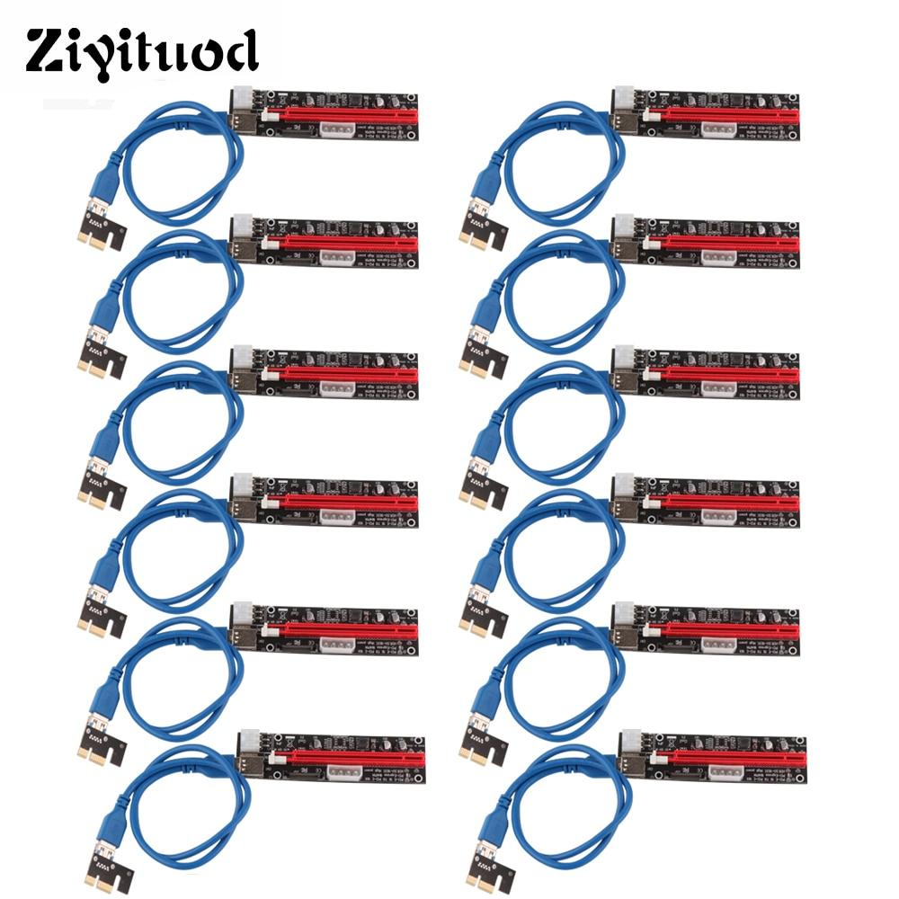 12pcs PCI-E Riser Card VER103C Express Cable 1X 4x 8x 16x PCI Extender Adapter SATA 15pin 0.6m USB3.0 Power For BTC Miner Mining