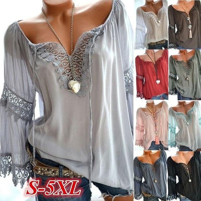 Весенняя женская кружевная блузка с цветочным принтом, винтажная рубашка с v-образным вырезом и длинным рукавом, Женская туника