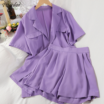 Fitaylor Summer New Women Casual Two Piece Set Office Lady Simplicity Short Sleeve Turn-down Collar Shirt Loose Short Outfits 1