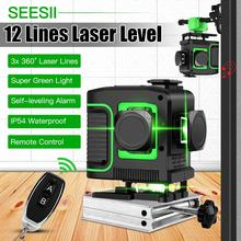 12 Lines 3D Laser Level 360 Green Line Set Self-Leveling Nivel A Laser Level 12 Line 3d 360 Tile Ceiling Floor Lazer Levels new electronic leveling green laser level 3d line meter remote control operation