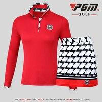 Golf Baseball Tennis Clothes Tops Shirt Lady Suits Lattice Women clothing Long Sleeved T shirt Short Skirt Sportswear Pantskirt