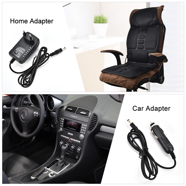 Electric Heating Full Body Massage Car Chair Office Massage Lumbar Neck Pain Relief 7pcs Powerful Motors Vibration Stimulating 6