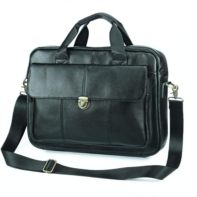 Nesitu New A4 Black Genuine Leather 14'' Laptop Office Men Briefcase Portfolio Real Skin Business Shoulder Messenger Bags M006
