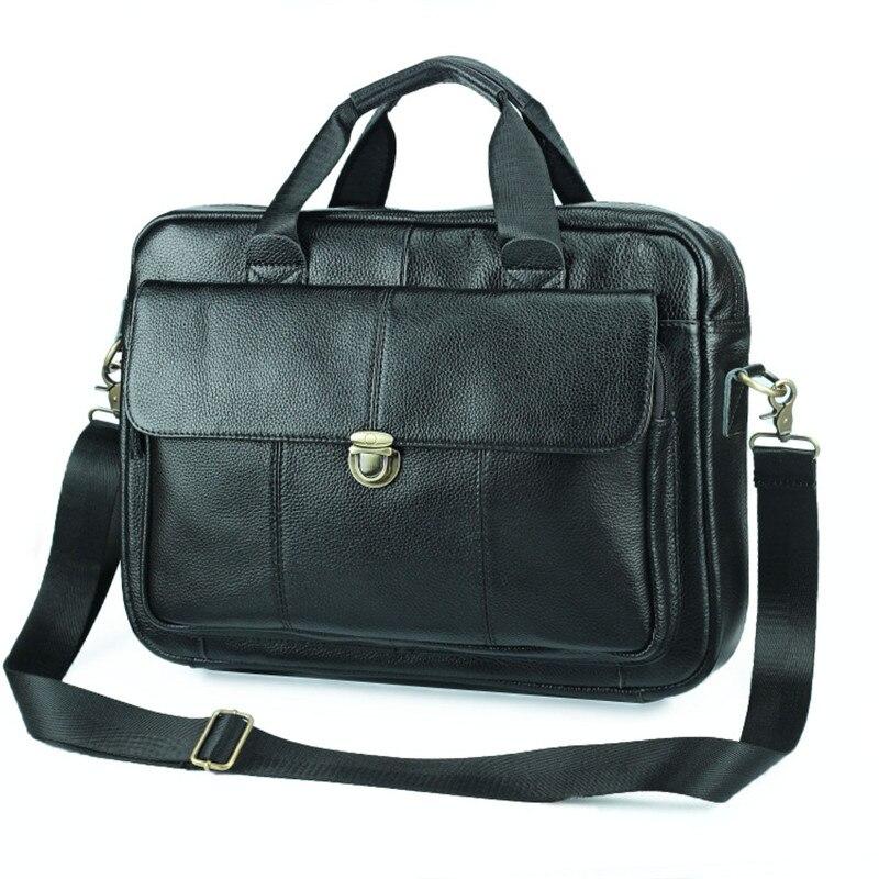 Nesitu nouveau A4 noir en cuir véritable 14 ''ordinateur portable bureau hommes porte-documents portefeuille véritable peau affaires épaule Messenger sacs M006