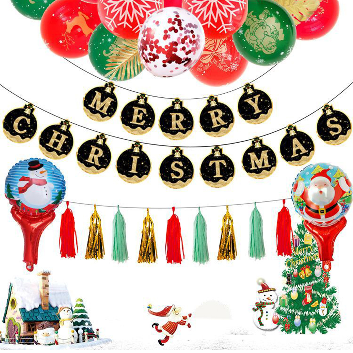 Merry Christmas Party Supplies Home Party Favor Decor Snowman & Santa Claus Balloons Banner Sequin Balloons Latex Balloons 2019