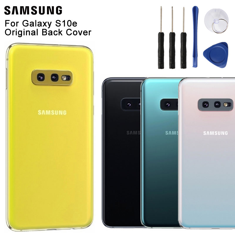 Samsung Original Glass Phone Rear Battery Door For Samsung Galaxy S10e SM-G9700 Housing Back Cover Cases