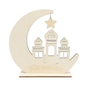 Image 3 - Decoración de Ramadan Eid Mubarak para el hogar, Luna, placa de madera, adornos colgantes, Festival musulmán islámico, fiesta, suministros