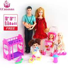 UCanaan 6 People Family Doll Suits Mom/ Dad/ Son Baby/ Kelly/Carriage Girls Toys Fashion Pregnant Kid