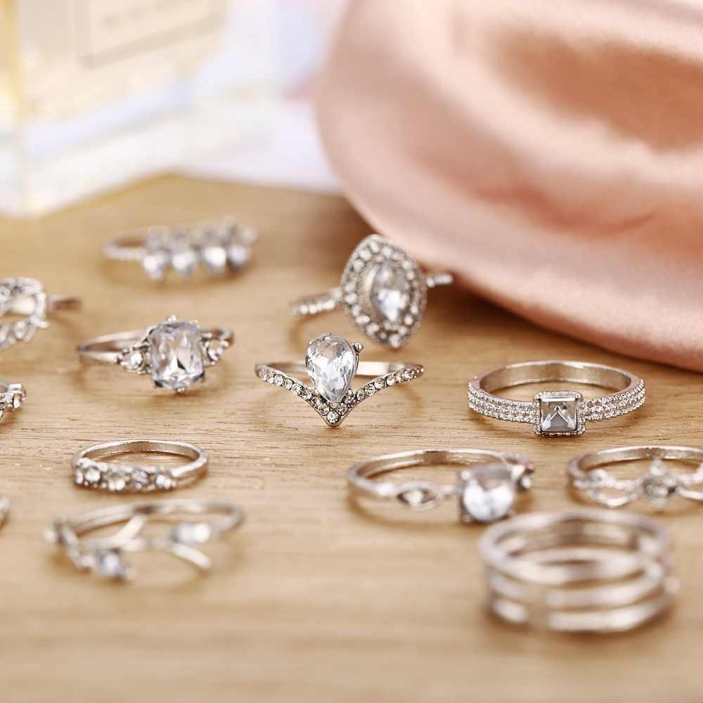 MAA-OE 2020 новые винтажные геометрические полые Кристальные кольца в форме сердца, наборы для женщин, бохо серебряные модные кольца, женский подарок на день Святого Валентина