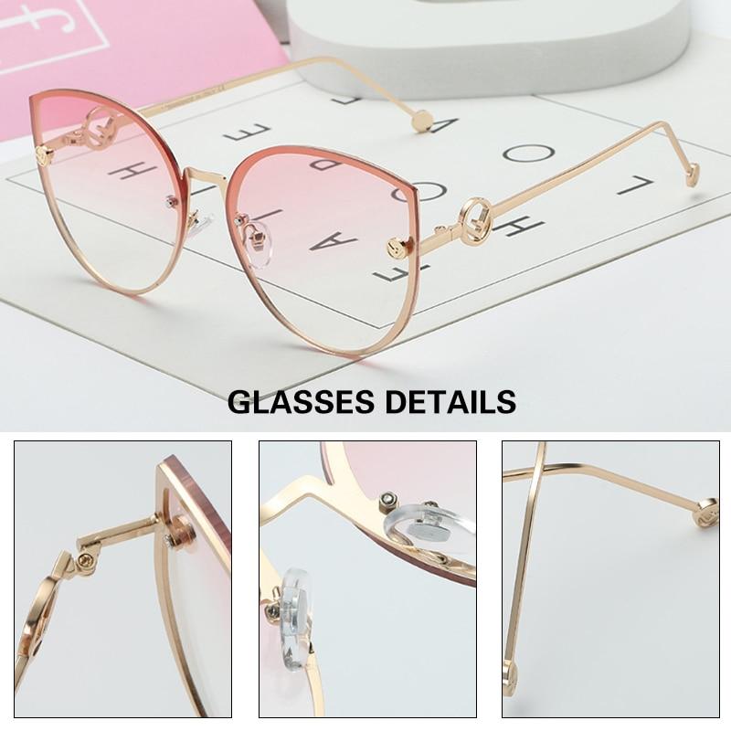 MADELINY New Luxury Brand Design Cat Eye sunglasses Women Mirror Vintage Rimless Sun Glasses Gafas Gradient ocean lens MA336 4