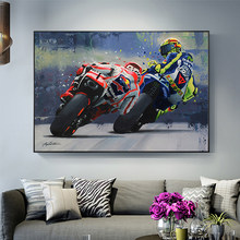 Abstract Motorcycle Canvas Posters and Print Modern Wall Art Grand Prix Motorcycle Racing Pictures for Home Living Room Decor