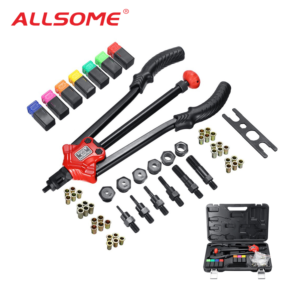 ALLSOME BT-610 Rivet Tool Kit Rivnut Setting Tool Nut Setter NutSert Hand Riveter Guns M3 M4 M5 M6 M8 M10 M12 Luxury Box