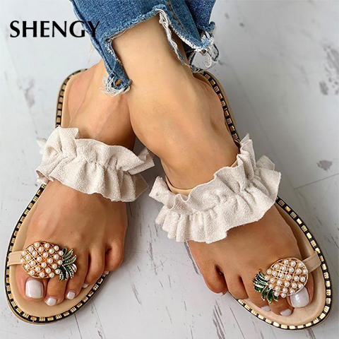 Womens Toe Flower Flat Bottom Shoes Summer Fashion Open Toe Rome Sandals Slip-On Appliques Slippers Casual Sneakers