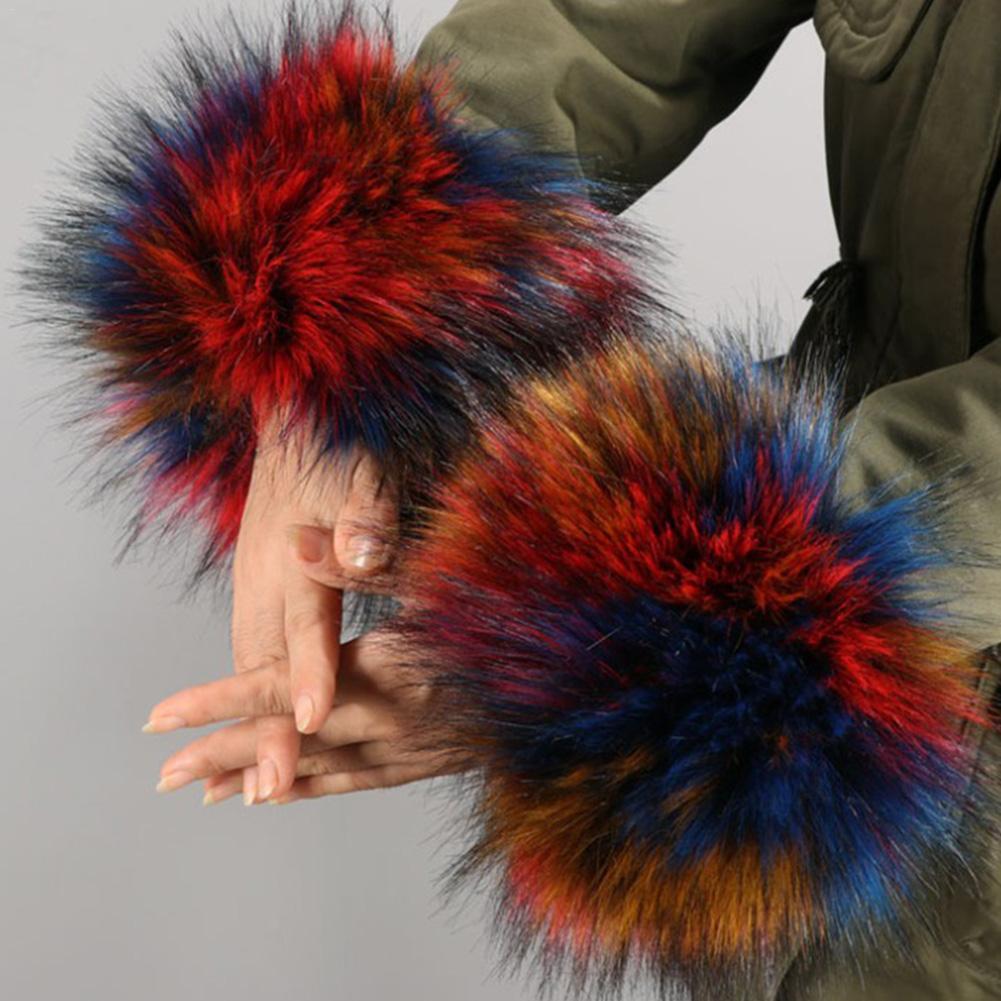 2019 Thicken Women Winter Warm Wrist Arms Gloves Rabbit Faux Fur Bracelet Cuff Wristband Plush Elastic Oversleeve Arm Warmmer