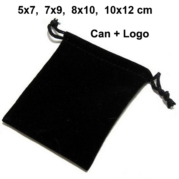 100pcs/lot 5x7, 7x9, 8x10, 10x12cm Drawstring Velvet Bags & Pouches Jewelry Bags Gift Packaging Bag Customize Custom Print Logo