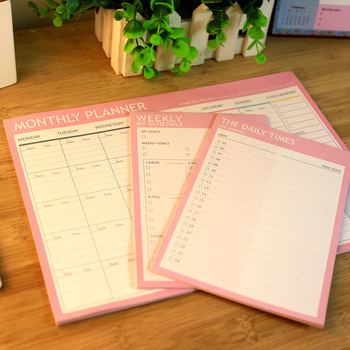 Pink Weekly Plan Memo Pad 40P DIY Undated Week Daily Check List 187mm*126mm image