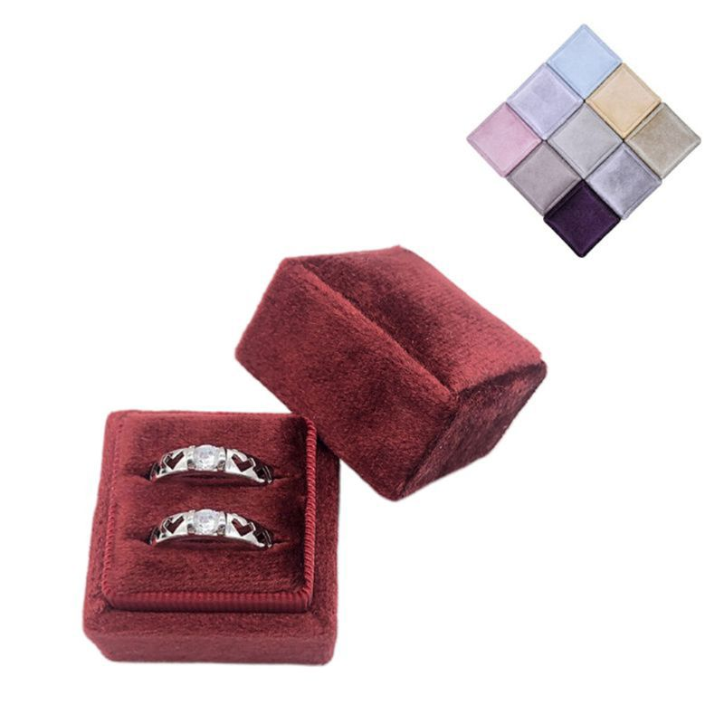 Velvet Double Ring Box Square Wedding Ceremony Ring Box With Detachable Lid DXAA
