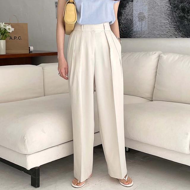 [EWQ] Korea Chic Casual Fashion Temperament Solid High Waist Folds Loose Wide-leg All-match Suit Pants Women Summer 2021 16E82 3