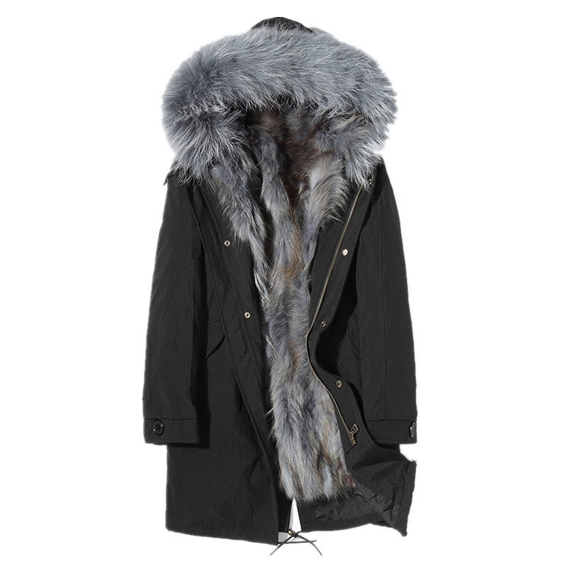 Real Fur Coat Real Raccoon Fur Parka Winter Jacket Long Coat Male Warm Parkas Plus Size Jacket Manteau Homme D-96-1701 MY1828