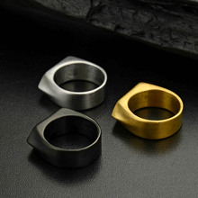 Wholesale New arrival Men Women's Black Plated Vintage Cool Biker brand Rings,Stainless steel Geometric Shape Simple Finger Ring