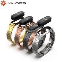 רצועת עבור Xiaomi Mi Band 5 NFC הגלובלי מתכת יד צמיד עבור Mi Band 4 רצועת נירוסטה Wristbands עבור mi Band 3 קוראת