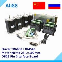 Router di CNC 4 assi: kitTB6600 servo driver + mach3 bordo di sblocco + 350W36v di alimentazione + 2.5 N. m coppia 357Oz in Nema 23 motore Passo a Passo