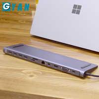 Estación de acoplamiento tipo c 12 en 1 lector de tarjetas de aluminio a HDMI RJ45 PD para cargador de Audio MacBook Samsung Galaxy usb c Hub