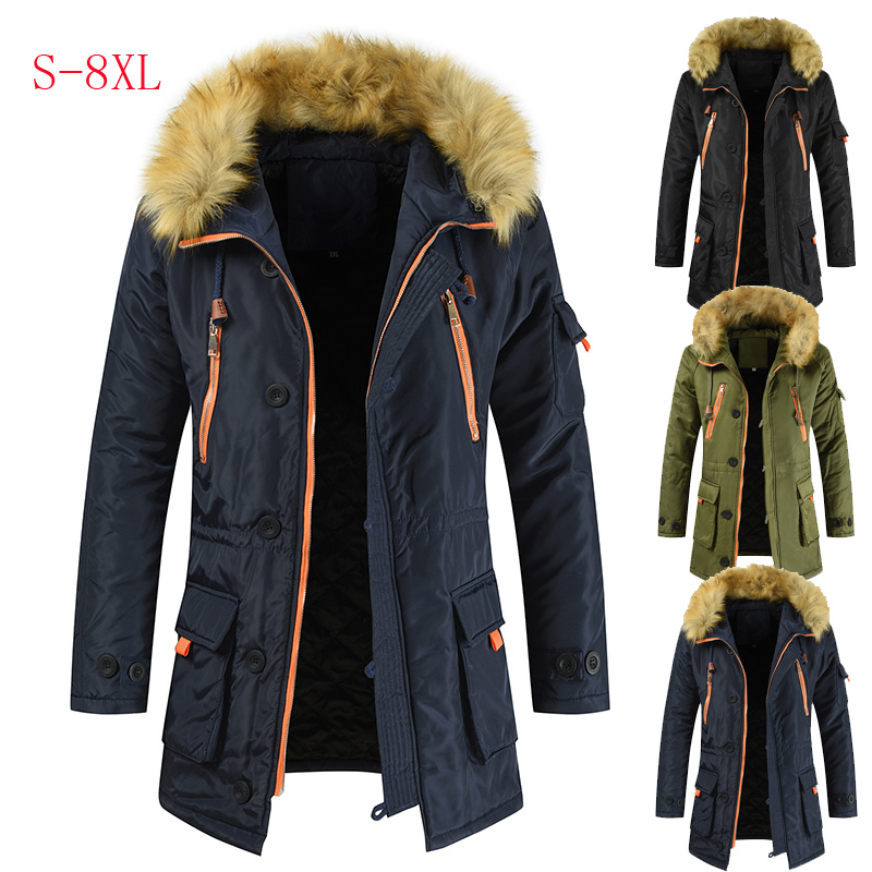 Parkas Men Long Cotton Jacket Wool Collar Thick Warm  Winter Jacket Men Large Size S-8XL