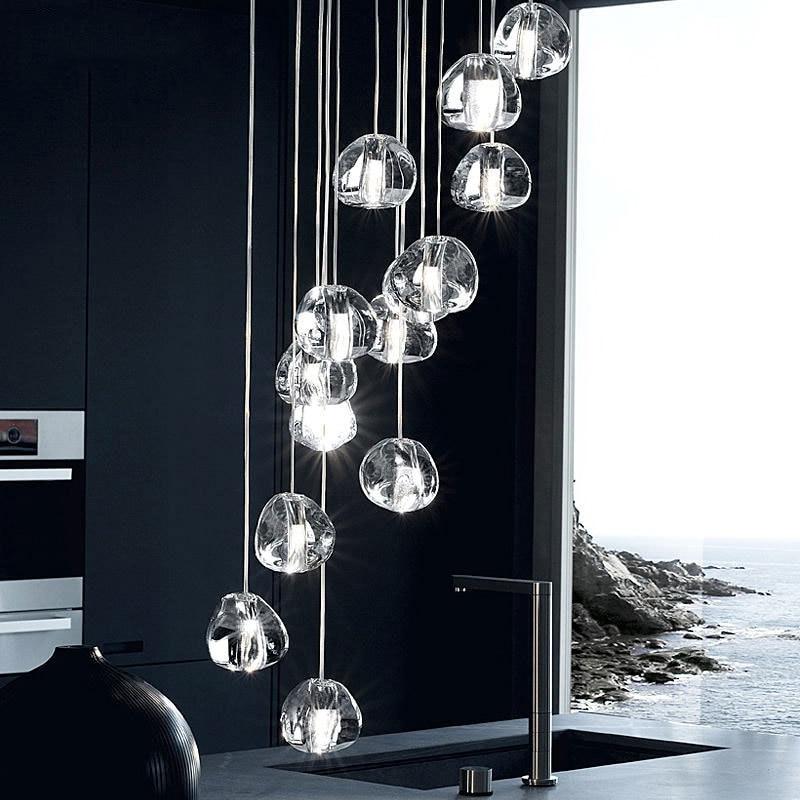 Modern Led Crystal Ball Chandelier Lighting Staircase Lamp Living Room Bedroom Chandeliers Indoor Hanging Lamp Lustre Luminaria